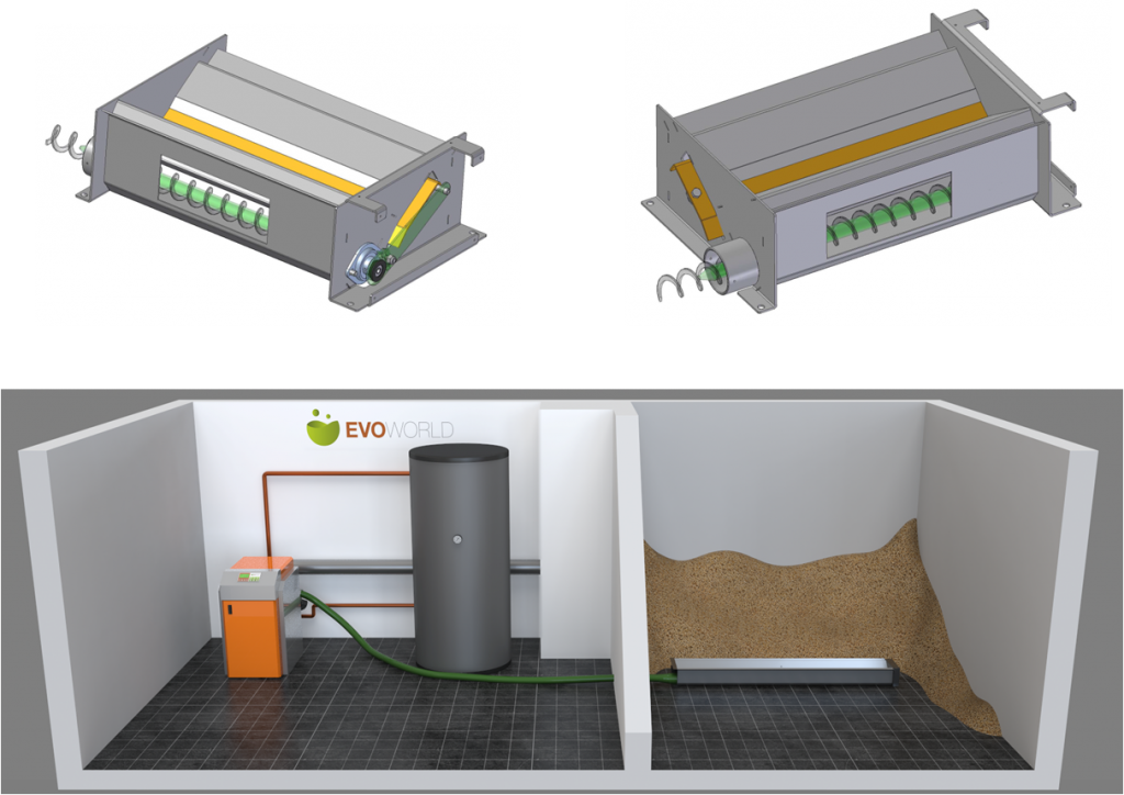 Boiler, bulk storage, and flexible auger